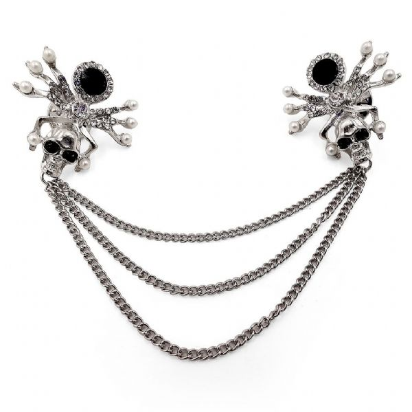 Rhodium Double Skull Spider Chain Collar Pin